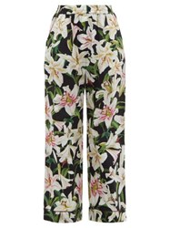 Dolce And Gabbana Lily Print High Rise Cotton Blend Pyjama Trousers Black Print