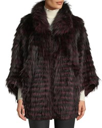 Belle Fare Fox Fur Oversized Cape Coat Wine