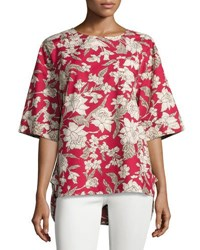 Double J Lilim Half Sleeve Cotton Top Red Pattern