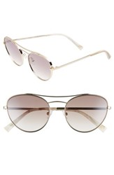 Kendall Kylie Yasmin 55Mm Aviator Sunglasses Light Gold Brown Clear Light Gold Brown Clear