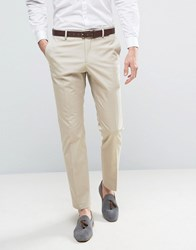 Selected Homme Slim Cotton Stretch Suit Trousers Sand Stone