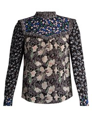 Rebecca Taylor Patchwork Floral Print Silk Blouse Black Multi