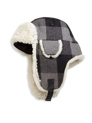 Crown Cap Shearling Trapper Hat Grey Plaid