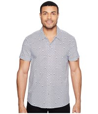 Kenneth Cole Short Sleeve Arch Camp Shirt Gesso Combo Men's Clothing Blue