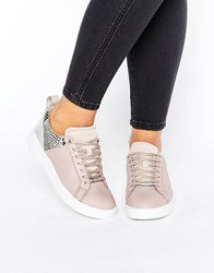 Ted Baker Kulei Nude Leather Trainers Mink Leather Pu Beige