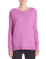 Lord And Taylor Merino Wool Hi Lo Crewneck Sweater Island Orchid