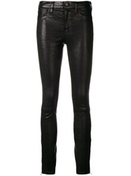 J Brand Ankle Zip Leather Pants Black