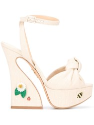 Charlotte Olympia Floral Vreeland Sandals Nude Neutrals