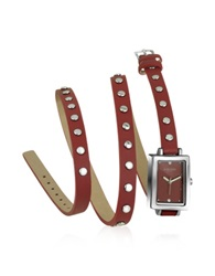 Forzieri Nina Red Leather Wrap Bracelet Watch