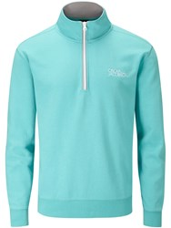 Oscar Jacobson Bradley Tour Quarter Zip Sweater Aqua