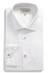 Ted Baker Big And Tall London Pampa Trim Fit Floral Dress Shirt White