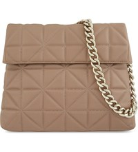 Karen Millen Regent Quilted Leather Shoulder Bag Nude Lingerie