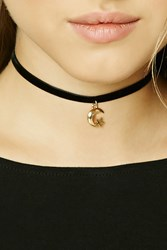 Forever 21 Moon And Star Charm Choker Gold Black
