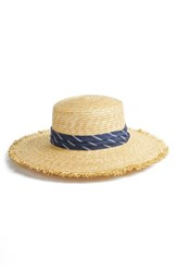 Bcbgmaxazria Denim Banded Straw Boater Hat Beige Natural
