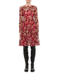 Valentino Macrame Lace Dress W Embroidered Collar Pink Pattern