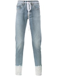 Off White Sprayed Hem Jeans Blue