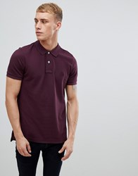 United Colors Of Benetton Muscle Fit Polo Shirt In Burgundy Red