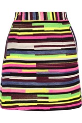 House Of Holland Gina Striped Jacquard Mini Skirt Bright Pink