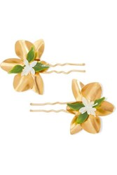 Mercedes Salazar Gold Tone And Resin Hair Pins One Size