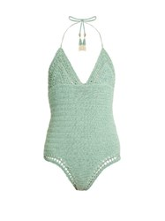 She Made Me Malika Cotton Crochet Halterneck Swimsuit Light Green