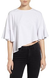 Kendall Kylie Women's Crop Flutter Tee Bright White