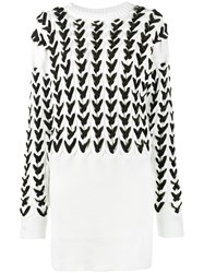 Y Project Long Sleeve Cable Knit Dress Women Cotton M White
