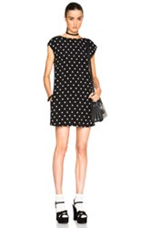Saint Laurent Polka Dot Shift Dress In Black White Geometric Print