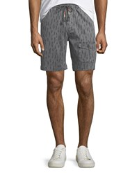 Michael Bastian Feather Print Stretch Pull On Shorts Gray