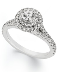 X3 Certified Diamond Round Halo Engagement Ring In 18K White Gold 1 Ct. T.W.