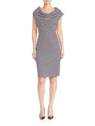 Escada Honeycomb Print Sheath Dress Black