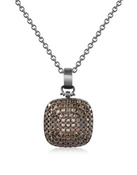 Azhar Cubic Zirconia And Sterling Silver Square Pendant Necklace Black