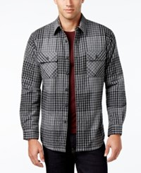 Club Room Men's Big And Tall Hobson Plaid Shirt Jacket With Faux Fur Lining Only At Macy's Medium Grey