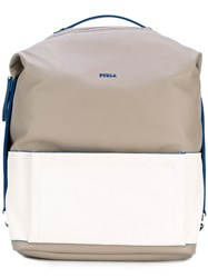 Furla Icaro Large Backpack Men Calf Leather Polyester One Size Grey