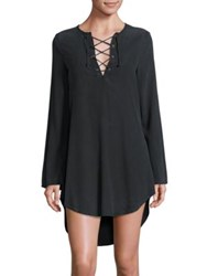 Bella Dahl Lace Up Front Shirt Dress Nightshade