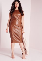 Missguided Plus Size Leather Zip Back Midi Dress Tan Brown
