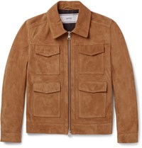 Ami Alexandre Mattiussi Slim Fit Suede Jacket Brown