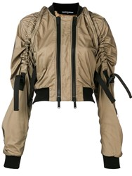 Dsquared2 Cropped Double Zip Bomber Jacket Neutrals