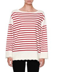 Dolce And Gabbana Striped Lace Trim Pullover Top Red White Red White