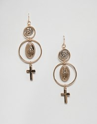 New Look Coin And Cross Earrings Gold
