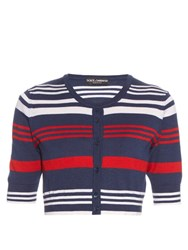 Dolce And Gabbana Cashmere And Silk Blend Striped Cardigan Red Navy
