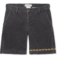 Remi Relief Slim Fit Embellished Cotton Blend Corduroy Shorts Gray