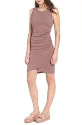 Leith Ruched Body Con Tank Dress Purple Taupe Heather
