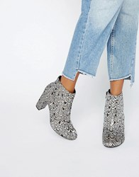 Miss Selfridge Jacquard Heeled Ankle Boot Silver
