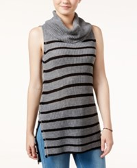 Ultra Flirt Juniors' Sleeveless Cowl Neck Tunic Heather Grey Black