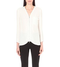 French Connection Belle Zip Up Crepe Blouse Winter White