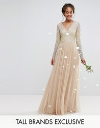 Maya Tall Long Sleeve V Neck Tulle Maxi Dress With Multi Colour Sequin Multi