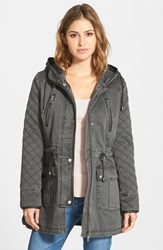 Guess Quilt Detail Cotton Anorak Charcoal