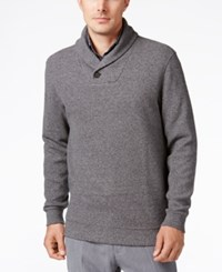Tasso Elba Men's Big And Tall Heather Shawl Collar Sweater Only At Macy's Deep Black Marl