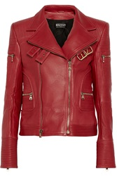 Balmain Quilted Leather Biker Jacket Red