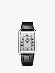Rotary 'S Cambridge Date Leather Strap Watch Black Silver Gs05280 70